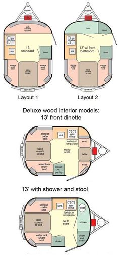 cool scamp 13' travel trailer floor plan with small table/sofa in front