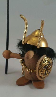 Vintage Wooden Viking/Troll w/Metal  Helmet, Shield- Norway/Denmark /Sweden