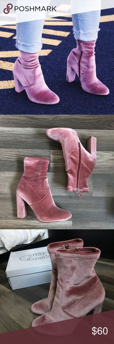 eb6328e9c00 Blush Velvet Booties Worn once - just like New. Steve Madden Shoes Heeled  Boots