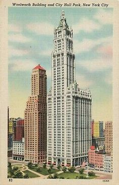 Vintage New York City Postcard - The Woolworth Building and City Hall Park (Unused), New York Architecture, Architecture Details, Vintage Architecture, Amazing Architecture, New York City Buildings, Woolworth Building, Nyc Art, Vintage New York, Night City