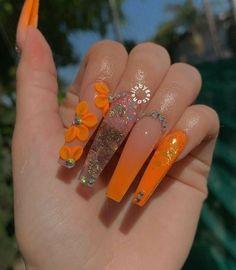 Orange Acrylic Nails, Bling Acrylic Nails, Acrylic Nails Coffin Short, Best Acrylic Nails, Orange Nails, Bling Nails, Acrylic Nail Designs, Swag Nails, Orange Nail Designs