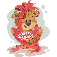 Vector Illustration Of A Brown Teddy Bear Rolling A Cart With A Birthday Cake Print Template Design Element Vector and PNG