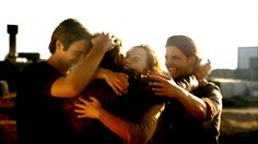 Group hug. Captain Becker, Matt Anderson, Emily Merchant, and Connor Temple from #Primeval.