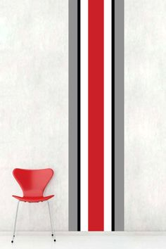 Red and Gray Helmet Stripes Printed Vinyl Wall Decals - Sports Vinyl Wall Decals Stickers by SweetumsSignatures on Etsy Kids Room Wall Decals, Vinyl Wall Stickers, Painting Horizontal Stripes, Decorating On A Dime, Diy Wall Painting, Old Room, Striped Walls, Room Paint, Paint Designs