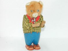 Vintage Tin Toy Wind Up Bear Made in Japan Litho Tin Toys