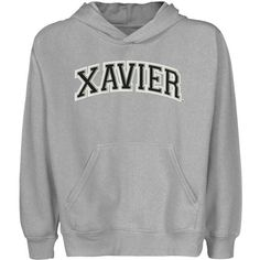 NCAA Xavier Musketeers Youth Arch Applique Pullover Hoodie - Ash - http://www.cincyshop.net/cincinnati-sports/xavier-university/ncaa-xavier-musketeers-youth-arch-applique-pullover-hoodie-ash/