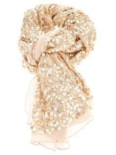champagne color sequin scarf