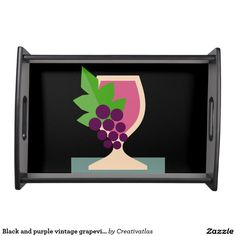 Serving Trays with handles | Black and purple vintage grapevine illustration serving tray | Kitchen | Home decor