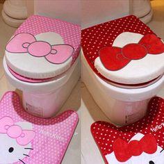 Cute Pink/Red 3pcs/set Hello Kitty Plush Bath Set Cartoon Toilet Lip Cover Sets  #New