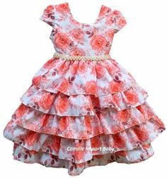 vestido festa infantil floral luxo 1 a 16 anos com tiara Little Dresses, Little Girl Dresses, Cute Dresses, Girls Dresses, Fashion Kids, Dress Outfits, Kids Outfits, Frocks And Gowns, Baby Frocks Designs