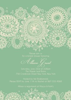 BRIDAL SHOWER Mint Green Invitation size 4x6 or 5x7 --complete digital file--