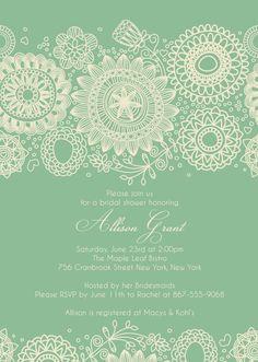 BRIDAL SHOWER Mint Green Invitation size 4x6 or 5x7 --complete digital file--