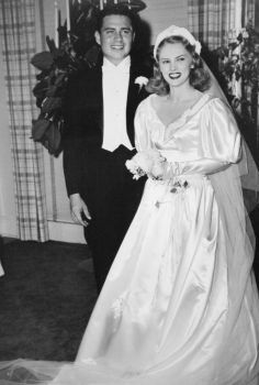 Bud adams is shown on his wedding day with bride nancy in a family