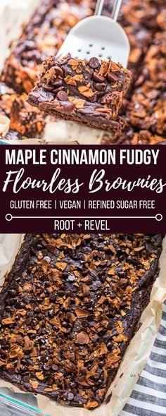 Looking for a healthy dessert recipe? Then you'll love these Maple Cinnamon Fudgy Flourless Brownies! Made with black beans sweet potato almond butter cacao powder and baking soda these gluten-free brownies are easy to make (one bowl! Healthy Dessert Recipes, Vegan Desserts, Healthy Desserts, Whole Food Recipes, Delicious Desserts, Paleo Sweets, Gluten Free Deserts, Gluten Free Brownies, Dairy Free Recipes