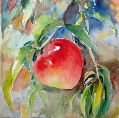 """Daily Paintworks - """"Ripe peach--2"""" - Original Fine Art for Sale - © Wenqing Xu"""
