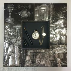This detailed pewter work was done by Esther from our Thursday class, framing the old pocket watch and fountain pen perfectly. Pewter Art, Old Pocket Watches, Embossing Techniques, Metal Embossing, Retro Men, Fountain Pen, Face And Body, Vintage Decor, Metal Art