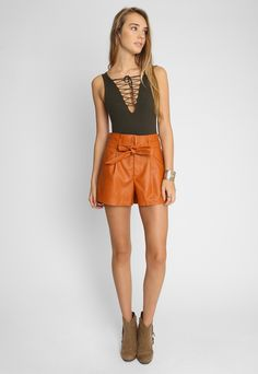 Faux Leather Shorts in Orange - Wet Seal