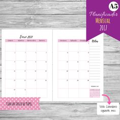 Calendario - Planificador Mensual 2017 A5 (vista en dos páginas) Etsy Planner printables #imprimibles #planner