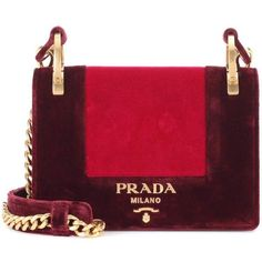 Prada Velvet Shoulder Bag (17185 MAD) ❤ liked on Polyvore featuring bags, handbags, shoulder bags, red, bolsas, purses, red shoulder handbags, man bag, prada shoulder bag and shoulder hand bags