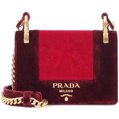 Prada Velvet Shoulder Bag (7,220 PEN) ❤ liked on Polyvore featuring bags, handbags, shoulder bags, red, prada, red purse, velvet shoulder bag, prada shoulder bag and shoulder hand bags