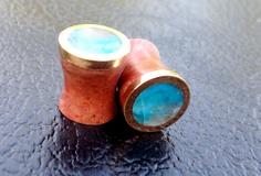 "Peruvian opal, manzanita and bronze custom small size 0g-5/8"" plugs/gauges. $80.00, via Etsy."