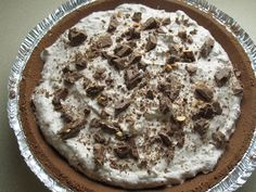 3 Ingredient dessert - fast and easy, yet still tasty! Chocolate Bar Pie- ive made this before and its really good!!