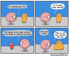 Akward Yeti, The Awkward Yeti, Cute Comics, Funny Comics, Funny Pins, Funny Memes, Funny Stuff, Heart And Brain Comic, Funny Cute