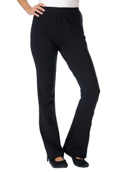 Pants, yoga bootcut knit with slim fit