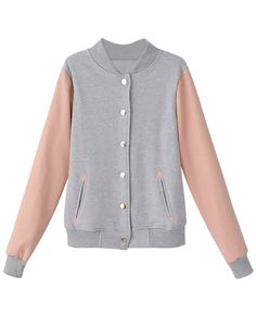 Front view of pink and grey baseball jacket