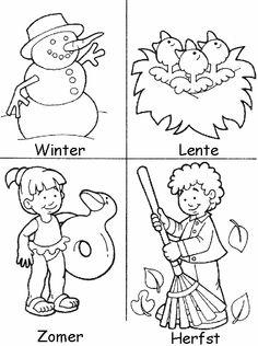 Kleuren lente zomer  herfst winter tekening of kleurplaat Month Weather, Weather For Kids, Preschool Weather, Weather Seasons, Make School, School Life, Seasons Of The Year, Four Seasons, Science For Kids