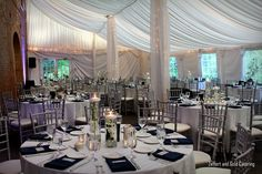 Zeffert and Gold Catering at Evergreen Carriage House. Baltimore City wedding tent reception.