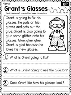 Reading Comprehension For Kids, Phonics Reading, Reading Passages, Reading Skills, Guided Reading, First Grade Worksheets, Phonics Worksheets, Reading Worksheets, 1st Grade Writing
