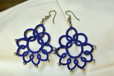 Tatted earrings chandelier lace jewelry Frivolite Beaded fibre jewelry  Lightweight filigree