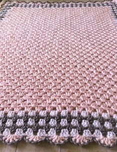 Pink Baby Blanket, Crochet Baby Blanket, Pink Crochet Afghan, Pink Baby Afghan, Pink Gray Blanket, Crochet Blanket, Handmade Blanket, Baby Shower Gift, Ready to Ship NEW: Now also available in blue and yellow Custom orders are welcome! If you see something you like but would