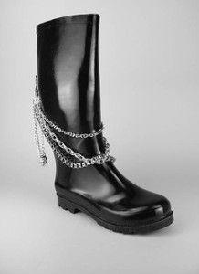boots with chain | Draped Skull Chain Rain Boot