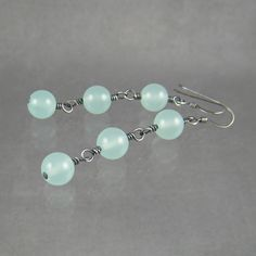 Day 15 - Chalcedony bead earrings. I wire wrapped these and oxidized them.