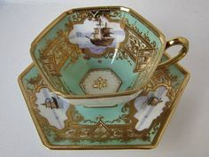 Old Noritake gold Sheng pattern ship picture Demi hexagonal cup and saucer