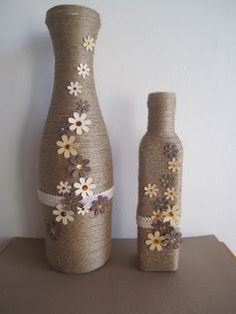 Beautiful string covered bottles