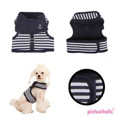 PINKAHOLIC SAILOR HARNESS NAVY - Little Pooch Dog Boutique £24.99