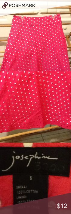 "Ladies Retro Vintage Hot Pink Dot Skirt Size 6 Cute vintage skirt by Josephine size 6 cotton lined in white and hot pink top. Zipper on the side in good condition. 30"" waist, 36"" hips, 25"" long. Josphine  Skirts A-Line or Full"
