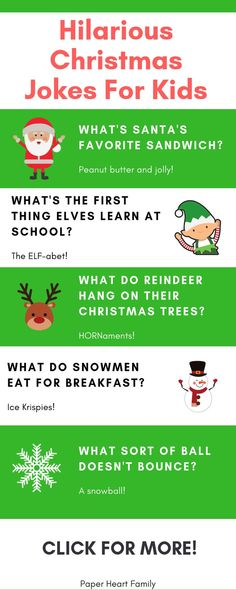 These kids Christmas jokes are perfect to use as an advent calendar or as lunch notes for the holidays. These hilarious jokes are mom and dad approved too! kids christmas 82 Christmas Jokes For Kids