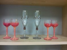 Hand painted cordial glasses - set of 4 $35.00. Handpainted Celebration champagne flutes $40 set of 2. harrisartstudio.com