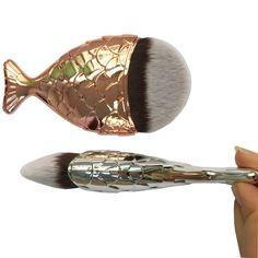 Makeup Funny Shape 4pcs Mermaid Tail Make Up Brush Kits Fish Scale Makeup Cosmetic Brush Powder Cream Foundation Blush Meticulous Dyeing Processes Eye Shadow Applicator