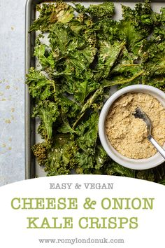 These super easy oven-baked vegan cheese & onion kale chips are the ultimate healthy vegan snack! These super easy oven-baked vegan cheese & onion kale chips are the ultimate healthy vegan snack! Quick Easy Healthy Meals, Healthy Bedtime Snacks, Healthy Vegan Snacks, Savory Snacks, Protein Snacks, Healthy Breakfasts, High Protein, Eating Healthy, Vegan Keto Recipes