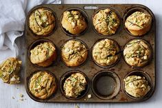 These easy zucchini muffins are made with ricotta and reduced-fat feta so they're still super-cheesy but are way better for you. Pop them in the lunchbox for a great snack or light lunch. Coconut Muffins, Zucchini Muffins, Vegetable Muffins, Healthy Muffin Recipes, Healthy Muffins, Savory Muffins, Coconut Prawns, Lunch Box Recipes, Lunchbox Ideas