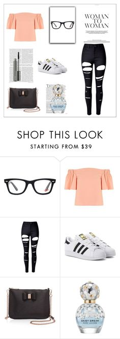 """Going to the Movies"" by explorer-14743076013 ❤ liked on Polyvore featuring Ray-Ban, Topshop, WithChic, adidas Originals, Ted Baker, Balmain, Marc Jacobs and MAC Cosmetics"