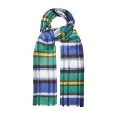 Burberry Tartan-checked scarf (890 BRL) ❤ liked on Polyvore featuring men's fashion, men's accessories, men's scarves, blue multi, burberry mens scarves and mens plaid scarves