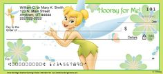 """Four different delightful Disney Tinker Bell check designs feature everyone's favorite pixie showing off some of her most adorable poses. Each is enhanced with an enchanting bit of fairy wit, too: """"Make a Wish!""""; """"Hooray for Me!""""; """"Too Cute!""""; or """"Just Believe!"""" Now every check you write is magic!"""