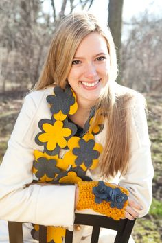 Flower scarf in classy Mustard and Grey by BglorifiedBoutique, $25.00