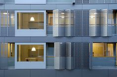 A student housing project in Slovenia for students at Ljubljana University designed by Bevk Perovic Arhitekti. The facade is made up of alum. Facade Architecture, Contemporary Architecture, University Housing, Interior Window Shutters, Student House, Student Living, Dormitory, Urban Design, Home Projects